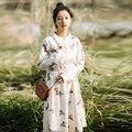 Spring Fashion Womens Dress Ukraine Vintage Print Floral Pleated Corduroy Mori Girl Long Dresses Autumn PlusSize Female Vestidos