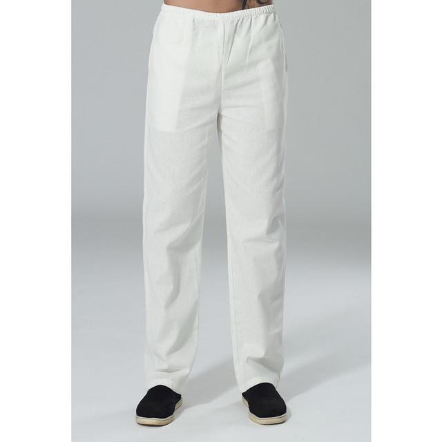 Nova Chegada Calças de Algodão De Linho Kung Fu dos homens Chineses Kung Fu Pant Calças de Tai Chi Wu Shu Calças Tamanho M L XL XXL XXXL W24