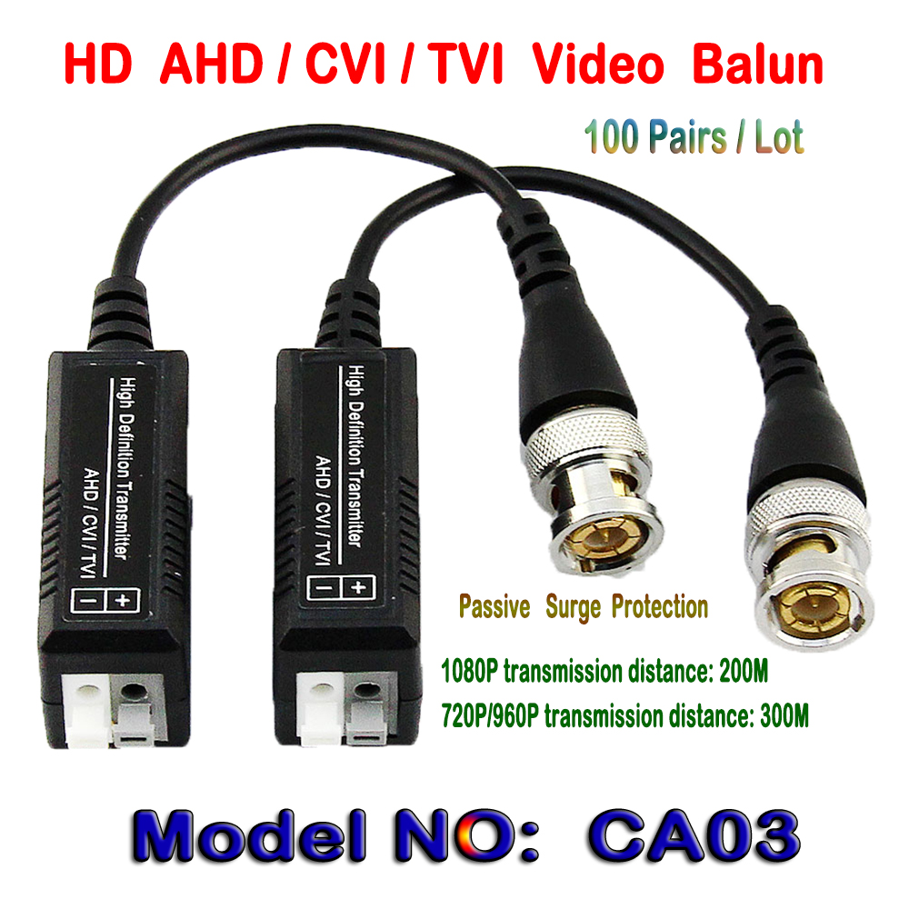 100Pairs HD CVI/TVI/AHD Passive Single Channel Video Balun HD CCTV Via Twisted Pairs Transmitter & Receiver BNC to UTP Cat5/5e/6 passive receiver