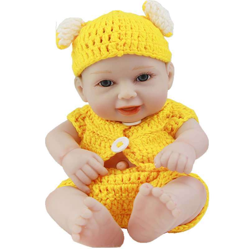Smile Reborn Baby Mini Doll 11'' Vivid Full Silicone Vinyl Fashion Dolls Dressed Yellow Cloth Girl or Boy Birthday Gift NPK Sale