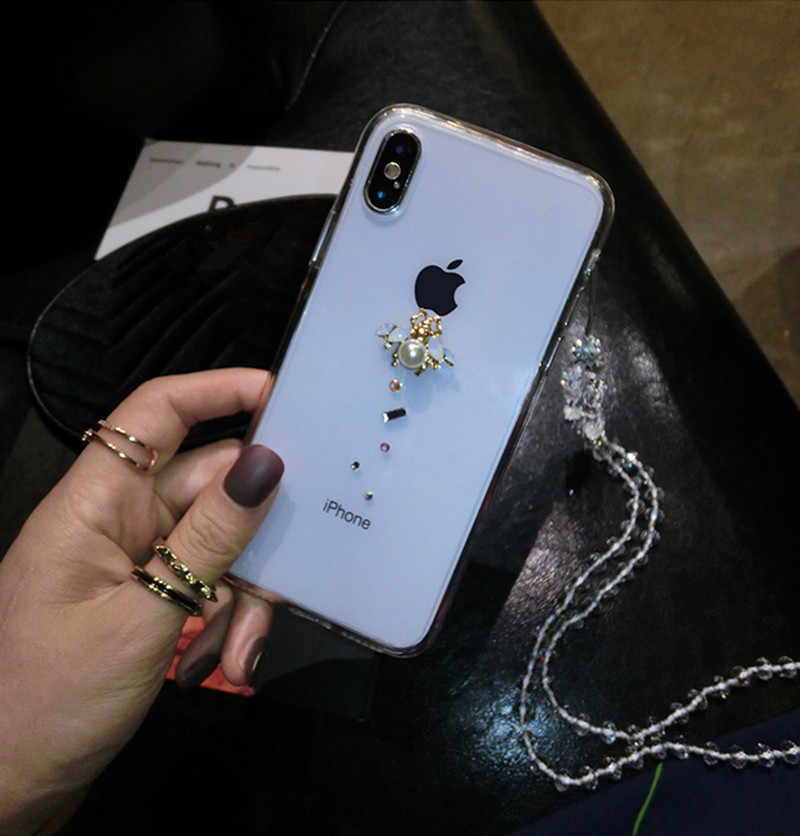 United States rhinestones bees phone case For Huawei Honor 10 7X V10 Mate10 P9 P10 P20 leather shell pearl protection sets tide