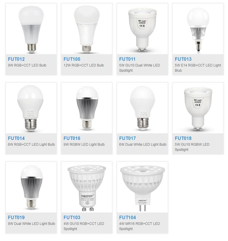 Milight FUT012/FUT013/FUT014/FUT016/FUT017/FUT019/FUT103/FUT104/FUT105/FUT106/ 4W 5W 6W E14 GU10 MR16 E27 LED bulb Spotlight