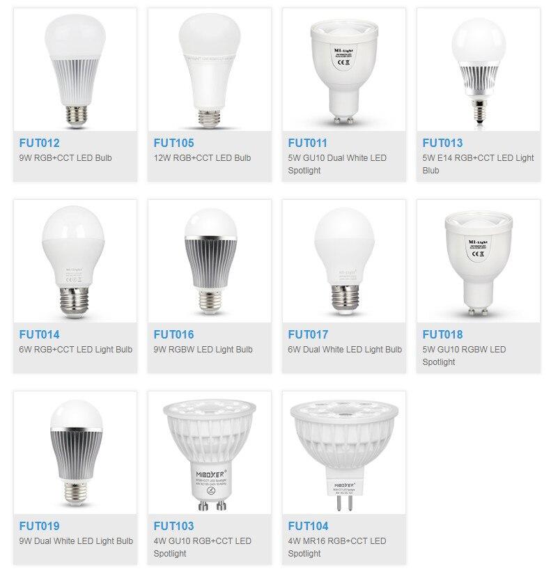 Milight FUT103/FUT104/FUT013/FUT014/FUT105/FUT012/FUT016/FUT011/FUT017/FUT018/FUT019 4W 5W E14 GU10 MR16 E27 LED Bulb Spotlight