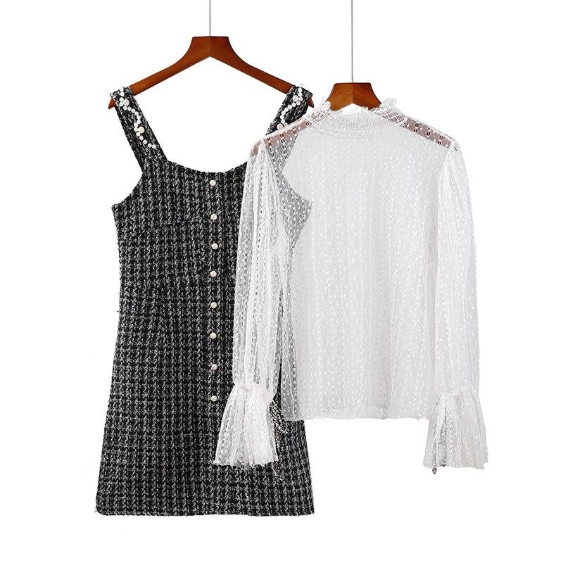 2018 Vintage Korean tweed Dress Women long Sleeve Elegant Sexy Party Mini Dresses Plus Size two piece Dress Vestidos robe