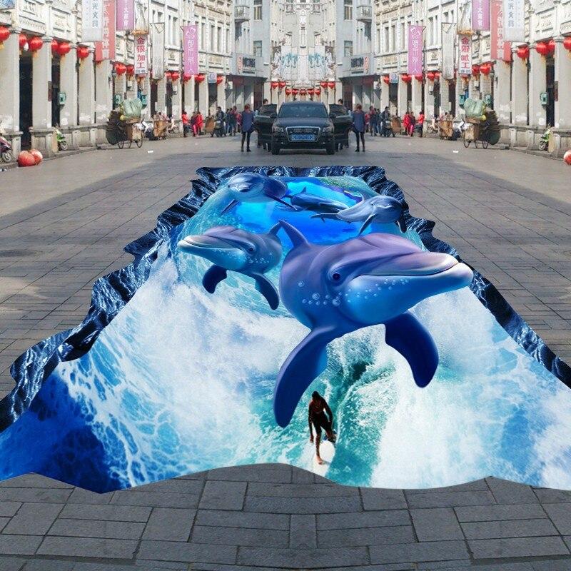цена Free Shipping Beach Shell Dolphin Square Street Park 3D outdoor self-adhesive waterproof floor painting wallpaper mural онлайн в 2017 году