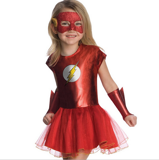 Girls the flash superhero cosplay costumes fantasia vestido halloween fancy Tutu dress Kids carnival party Outfit