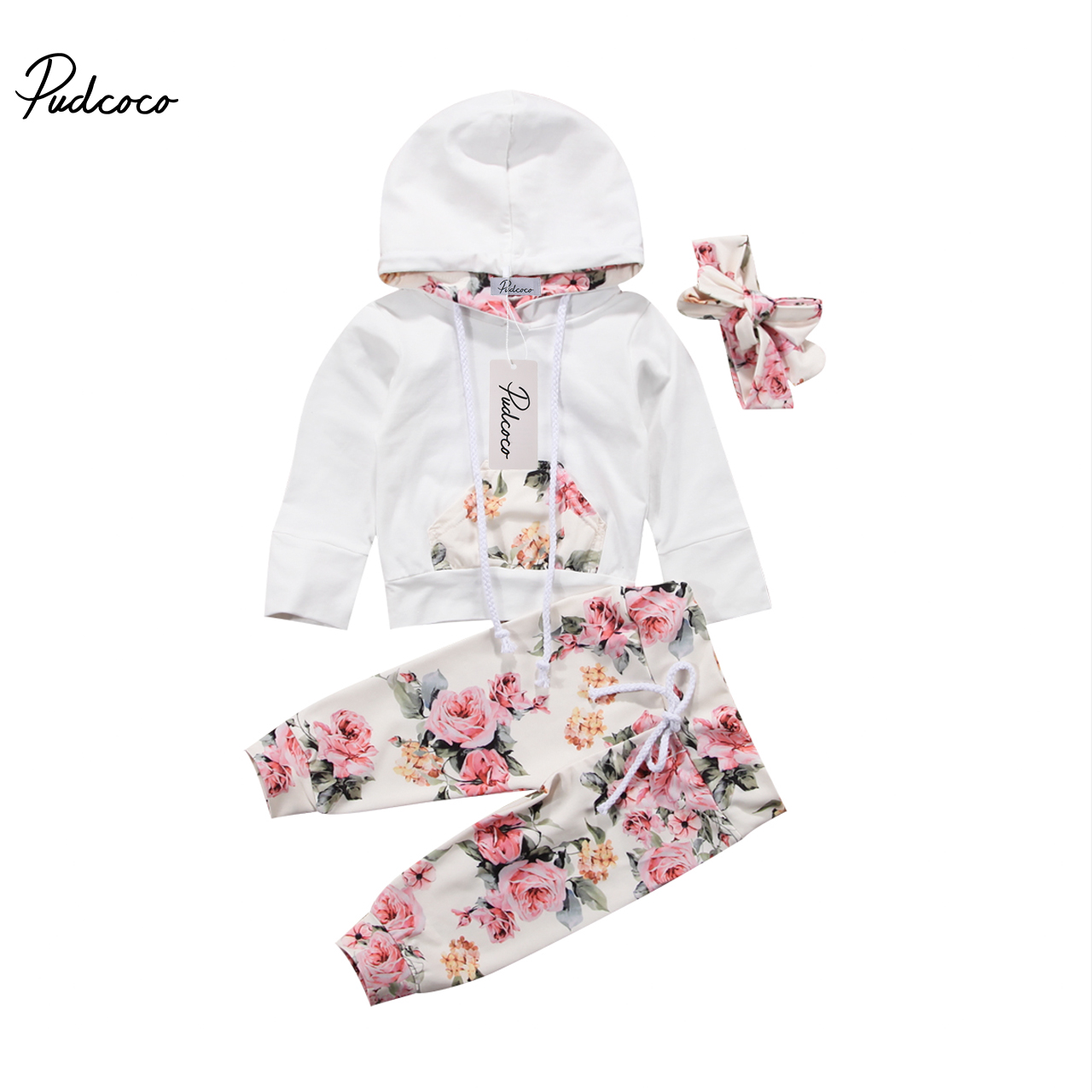 Spring Newborn Baby Girls Sport Outfits Clothes Sweat Shirt Hoodies and Pants Set baby girl clothes baby clothing