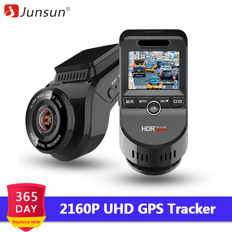 Junsun Car DVRs Recorder Dual Lens Dashcam Built in GPS Tracker 4K 2160P HD Night Vision