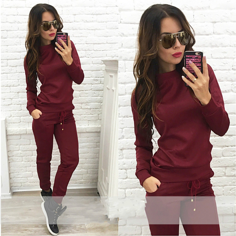 Solid Long Sleeve Suit Set 2019 Women Tracksuit Two-piece Sport Style Outfit Jogging Sweatshirt Fitness Lounge Sportwear