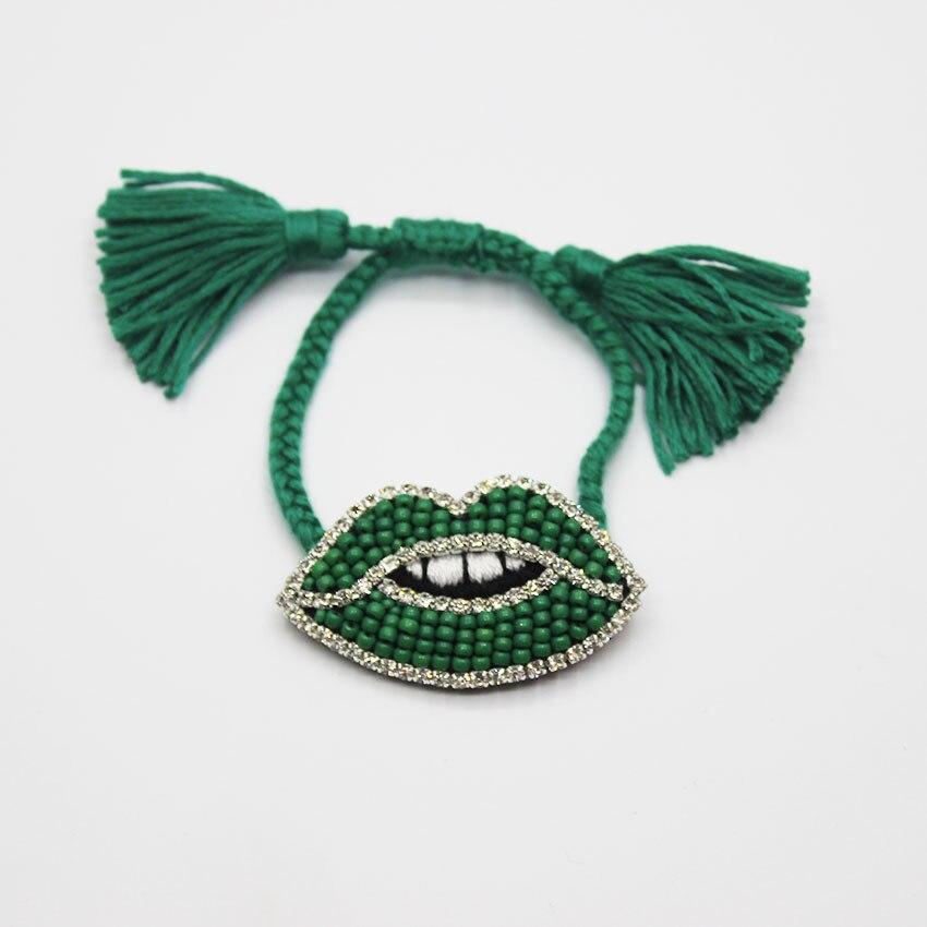Baroque bracelet handmade custom leather beads multicolor lips wild temperament bracelet 934