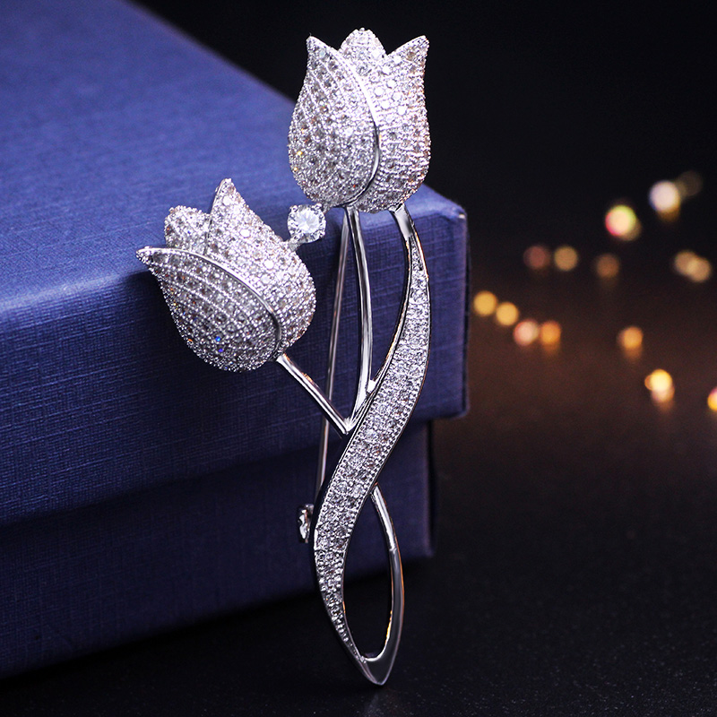 1 Pcs Silver color Tulip Flower CZ Brooch Pin Elegant Rose Flower Cubic Zircon Brooches For Wedding Costume Accessories Jewelry