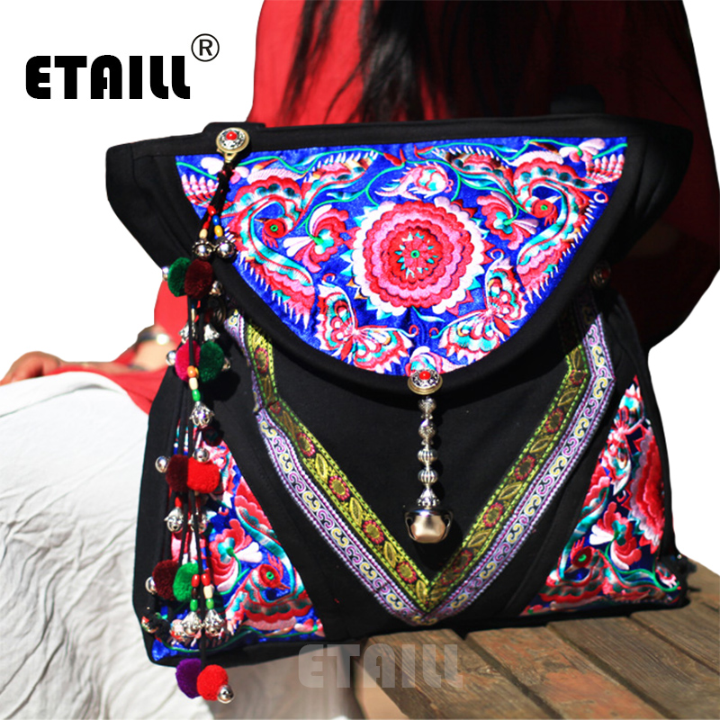 Vintage Boho Hmong Beads Ethnic Handmade Embroidered Shoppers Bag Brand Famous Woman 2016 Sac a Dos Femme Besace Ethnique Brode chinese hmong boho indian thai embroidery brand logo backpack handmade embroidered canvas ethnic travel rucksack sac a dos femme