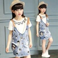 Meninas denim dress crianças vestidos cinta sets carta imprimir algodão de manga curta t-shirt + estilingue denim dress crianças roupa da menina conjunto