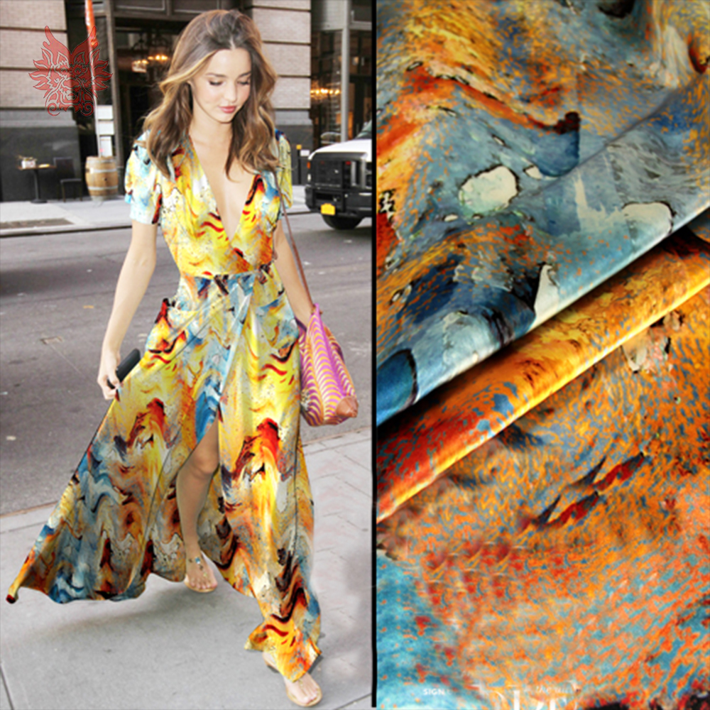 Abstract orange blue see waves print spandex silk fabric apparel for dress natural silk tissu cloth tela tecido yarn 19mm SP4993