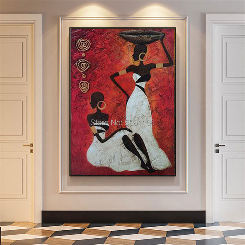 Handmade abstract african woman painting on canvas red wall art africa figure picture for living room home decoration painting in Painting Calligraphy from Home Garden