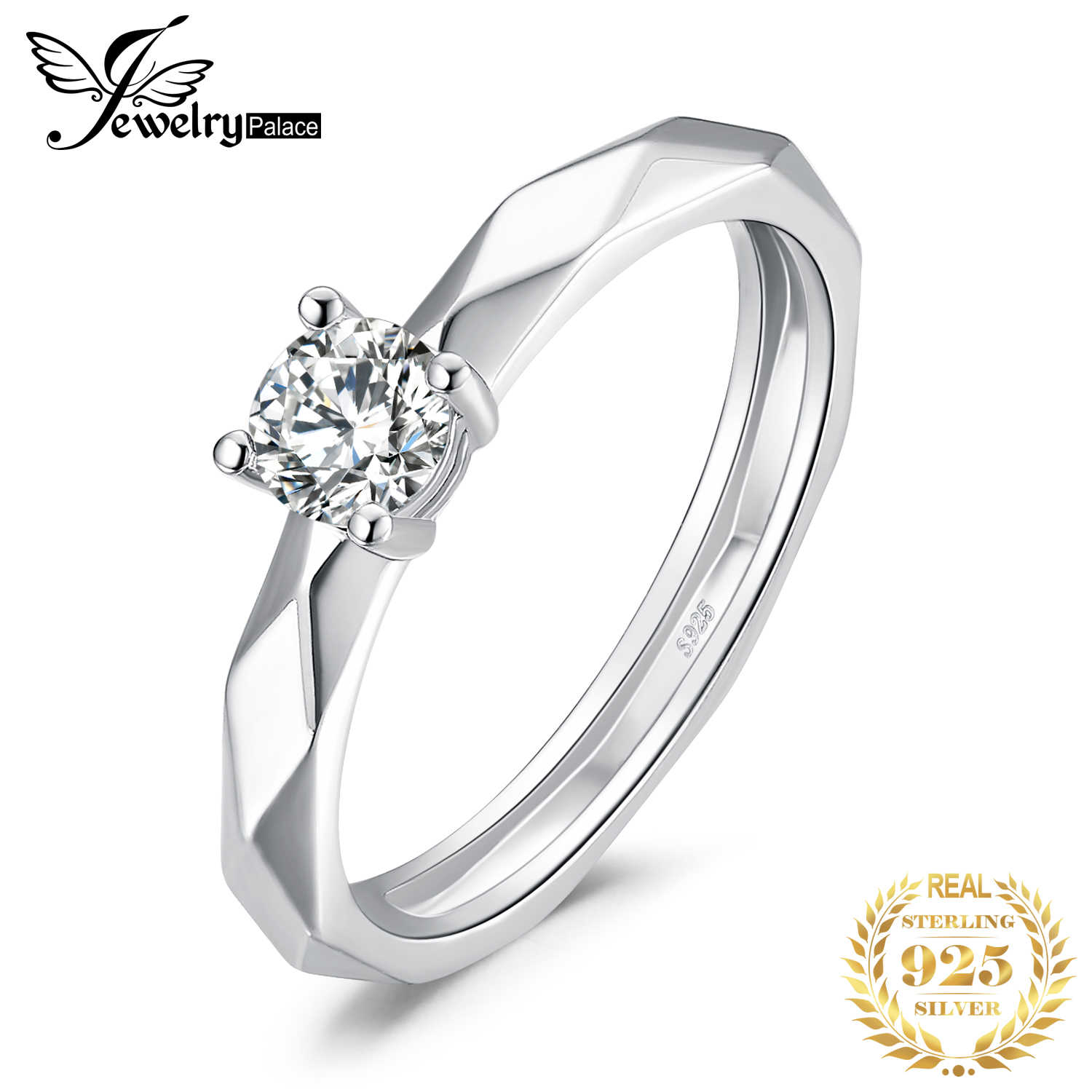 JewelryPalace Multi Faceted 0.6ct Cubic Zirconia สัญญาครบรอบ Solitaire หมั้นแหวน 925 เงินสเตอร์ลิง