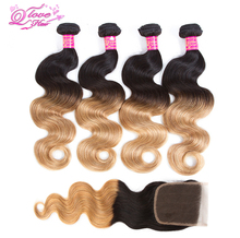 Queen Love Hair Pre-Colored One Pack Ombre Peruvian Hair 4 Bundles With Closure 1B/27 Body Wave Human Hair Weave Non Remy Hair