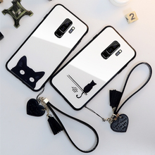 For samsung galaxy A7 2018 A750 Tempered Glass Case Cute cat Cover Samsung A8 A5 A9 A6 Plus A9S Tassel Lanyard Funda