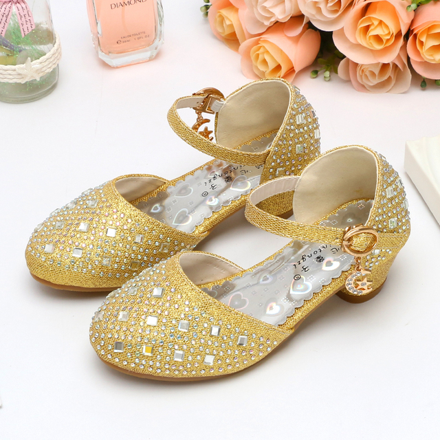 Girl s Rhinestone sandals 2018 new baby girl summer princess silver high  heels children s shoes size 26-37 Silver pink f5306a4b8667