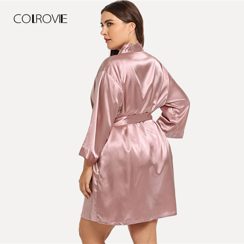 3494034fbc COLROVIE Plus Size Pink Self Belted Knot Robe Women Dressing Gown Kimono  Nightgown 2018 Female Nightdress Sleepwear Pajamas-in Robes from Underwear  ...
