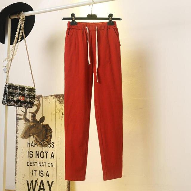 Pantalons femme printemps été à lacets ample, couleurs bonbons, sarouel fin, en coton, été pantalon de survêtement décontracté, C5221