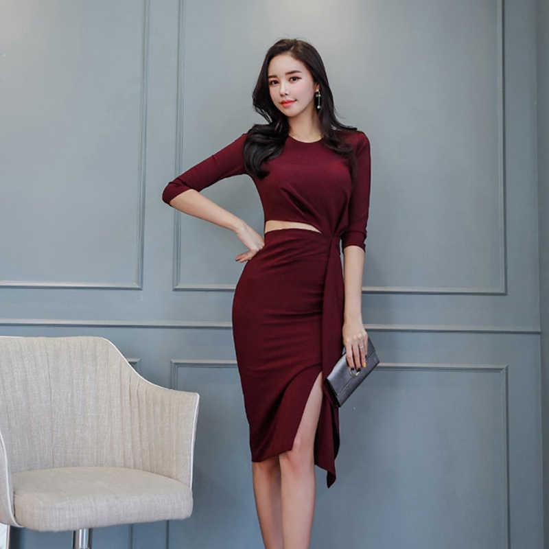 27d9da54a803f Fashion women temperament korean sexy cute pencil dress new arrival OL  fresh simple black comfortable sweet solid party dress