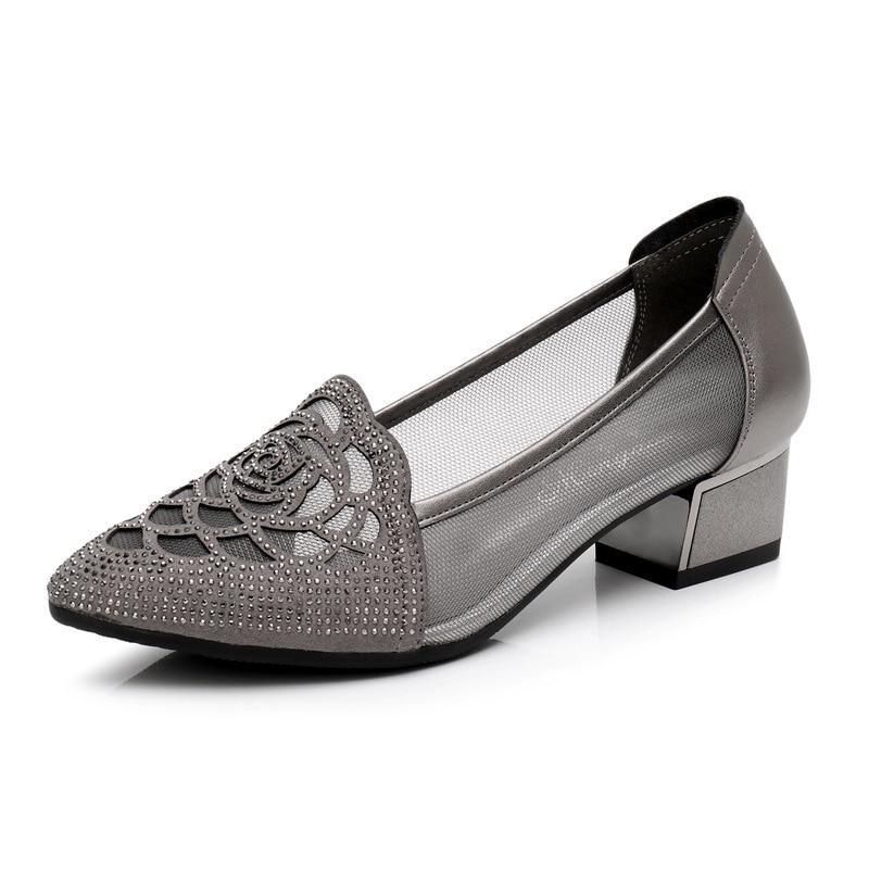 D'été Femme Plus Cuir Femmes En Beige Chaussures Strass Alishinrey Creux 35 gris Véritable 43 La Mode Taille Talons noir R8WqIwfg
