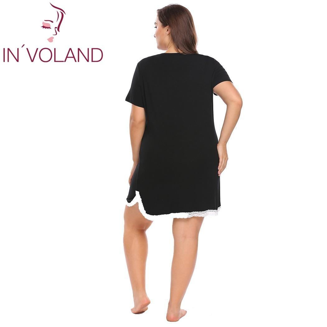 IN'VOLAND Big Size XL-4XL Women's Basic Nightdress V-Neck Short Sleeve Lace Trim Large Nightgown Sleepwear Dress Plus Size 3
