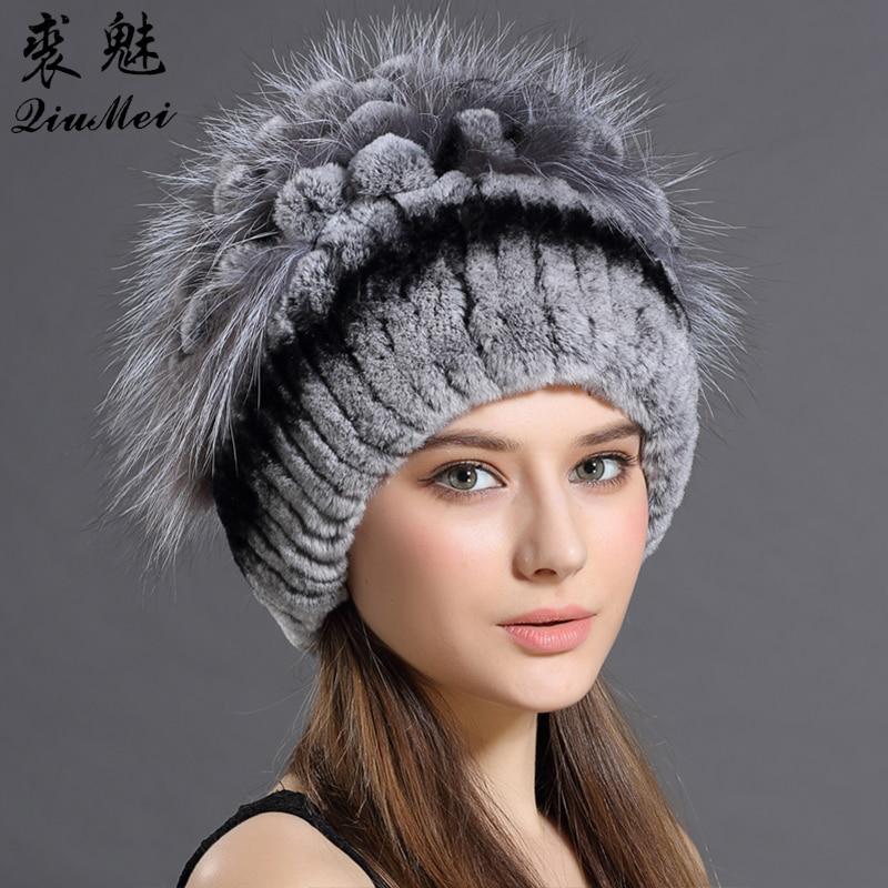 QiuMei 2018 New Women Warm Rabbit Fur Hat Fox Fur Sewing Strips Flower head Cap headgear Fashion Women Russian Rabbit fur Hats