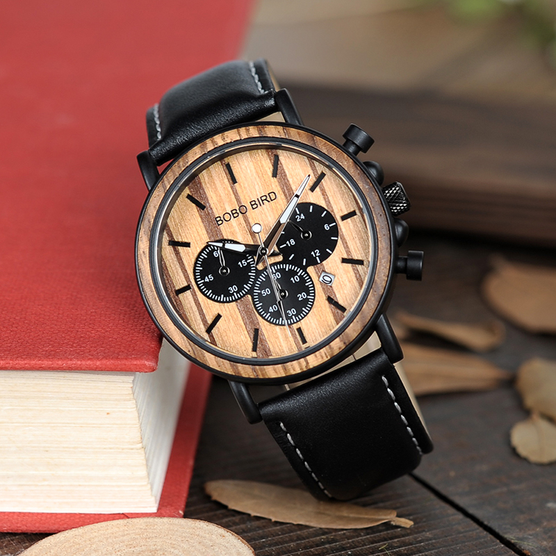 BOBO BIRD Wooden Men Watch Relogio Masculino Luminous Luxury Top Brand Chronograph Watches erkek kol saati Drop Shipping