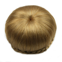 Soloowigs Heat Resistant Fiber Pure Color Women Braided Chignon Synthetic Hair Buns For The European And