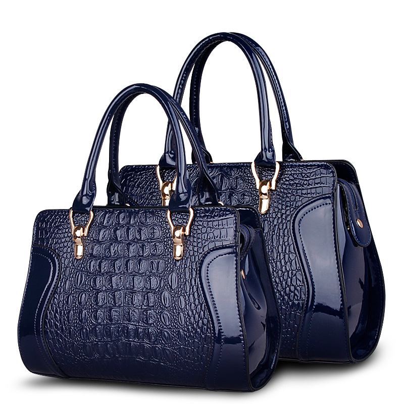 Patent Leather Crocodile Pattern Tote Bags Top Handle Handbags For Women Fashion design luxurious shopper Female