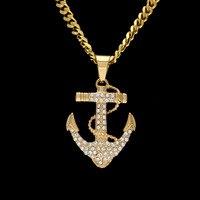 Samyeung Hip Hop Hiphop Złoty Łańcuch Link Kotwica Tytanu Kryształ Naszyjniki dla Mężczyzn Mężczyźni Naszyjnik Biżuteria Neckless Femme Bling