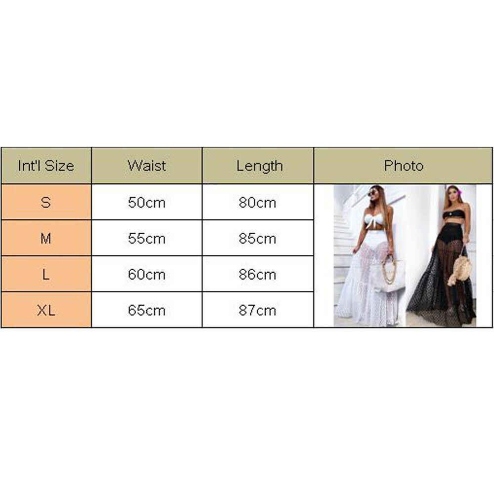 2019 novo estilo feminino sexy biquíni cobrir saia de cintura alta dot vestido verão transparente longo maxi saia longa beachwear outfit