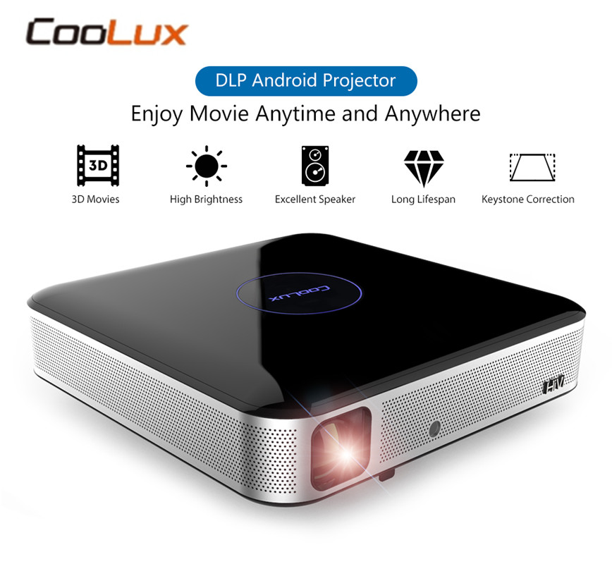 Original COOLUX S3 DLP Projector Home Theater 900/1100 ANSI 1280 x 800P Support 4K 2.4 / 5GHz WiFi Bluetooth 4.0 Remote Focus