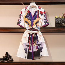 Make big yards fat mm summer French small fat younger sister brim web celebrity printed two piece  shirt and top  set 2019 цена
