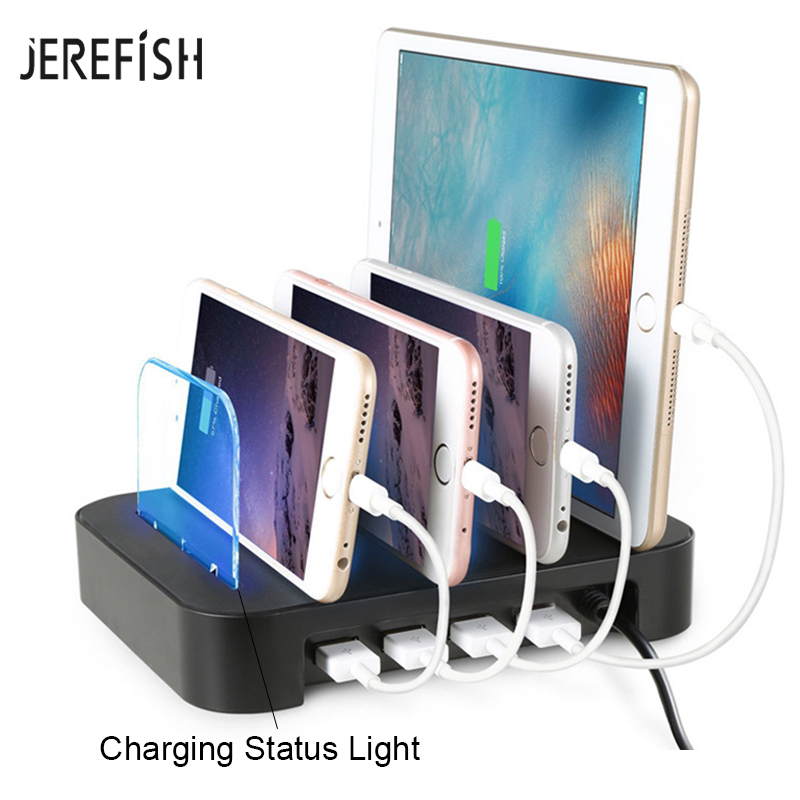 Jerefish Charging Station With 4 Port Usb Charger Docking Stand Best Electronics Organizer For Multiple Devices Phones In Car Chargers From