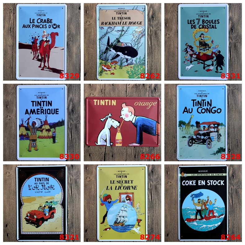 The Adventures of Tintin 30x20 CM Retro Metal Paintings Iron Art Tin Sign Cartoon Movie Poster Wall Sticker Bar Cafe Home Decor