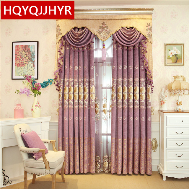 Custom European Luxury Purple Embroidered Blackout Curtains For Bedroom  Window Curtain Living Room Window Curtain Kitchen