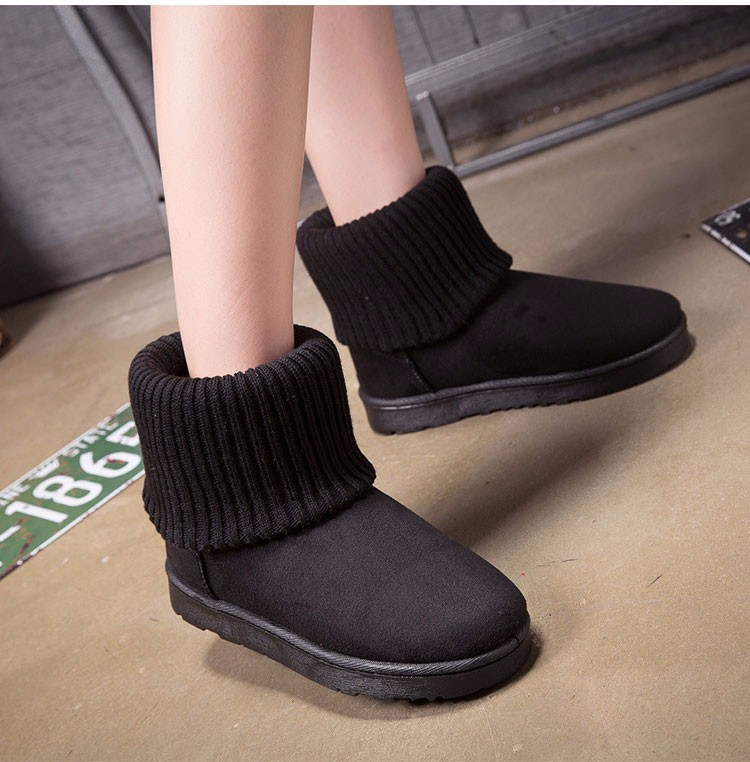 KUYUPP Patchwork Knitting Wool Women Snow Boots Winter Shoes 2016 Flat Heels Warm Plush Ankle Boots Slip On Womens Booties DX119 (34)