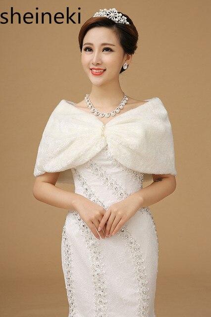 3eeb6946858f5 Cheap In Stock Ivory Pearls Women Winter wedding faux fur jacket bolero  wraps Bridal Coat Wedding Bolero Faux Fur Bridal Shurg