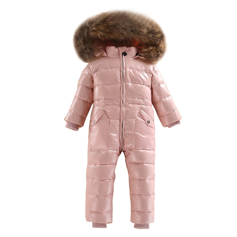 Dollplus Baby Rompers Russian Winter Overalls White Duck Down Ski Snowsuit Outdoor Girls Boy Jumpsuits Real Fur Hood 2~5 Years