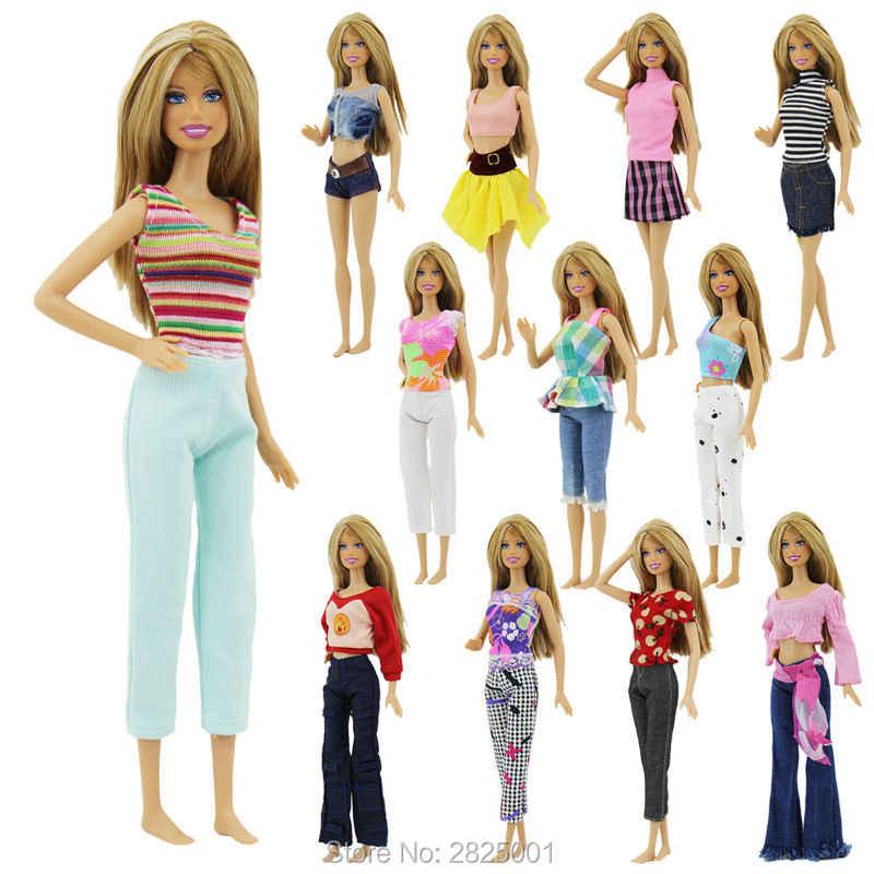 d32c7628eab Random 7 Sets Outfit Fashion Doll Clothes Blouse Bottoms Shirt Pants Skirt  Dollhouse Accessories For Barbie