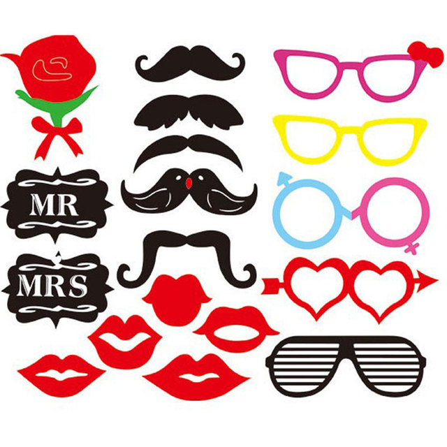 Birthday Photography Tips And Tricks: 18 PCS Wedding Party Supplies Rose Lips Mustache