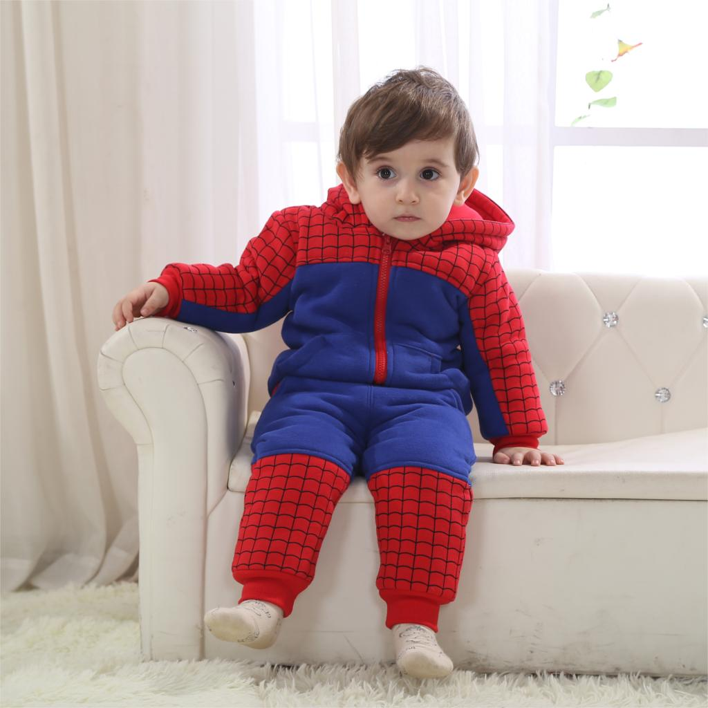 b10d79860 Winter Spiderman Baby Clothing Set Warm With Hood Costume For Baby 5 ...