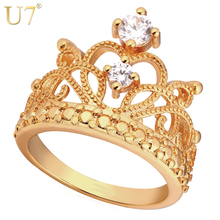 U7 Crown Rings For Women Birthday Gift Trendy Gold Color Cubic Zirconia Engagement /Wedding Bands Promise Rings R414
