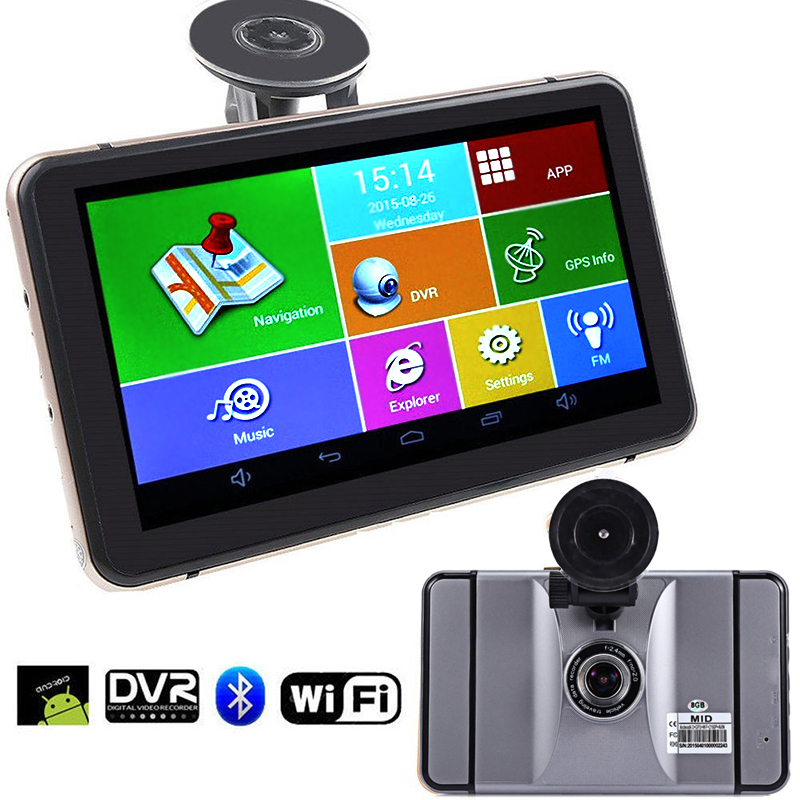 2In1 7 pouces GPS Android Navigation Wifi FM véhicule Dashcam enregistreur vidéo 1080 P Portable voiture DVR GPS navigateur pour touriste 8 GB