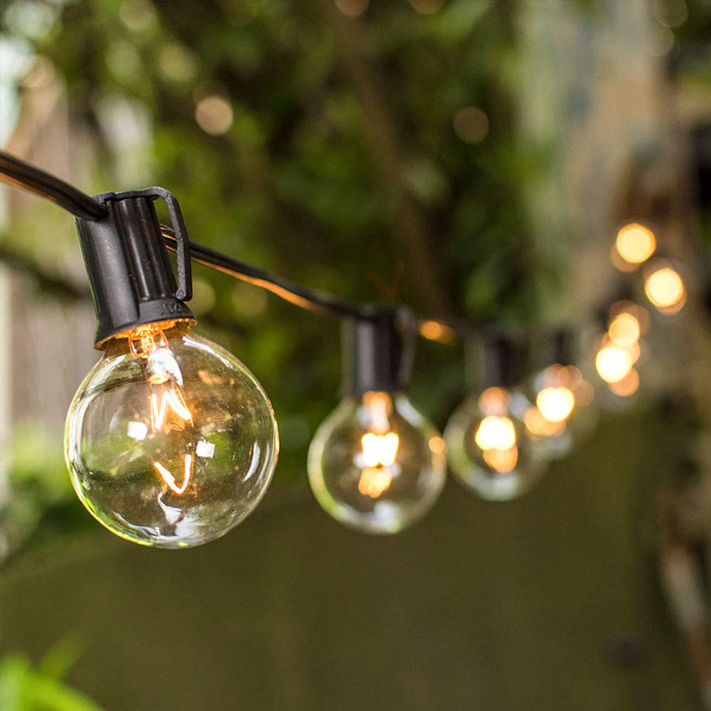 50FT Festoon Globe Fairy String Lights 50 Clear Bulbs Christmas Garden Lighting