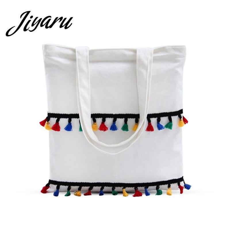 Canvas Tote Bag Tassel Reusable Zipper Light Portable Eco Shopping Bag Large Shopper Tote Shoulder Bags Beach Handbag for Travel