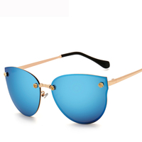 Women Oversize Rimless Sunglasses Female Brand Designer Cat Eye Vintage Golden Rose Decoration Eyewear